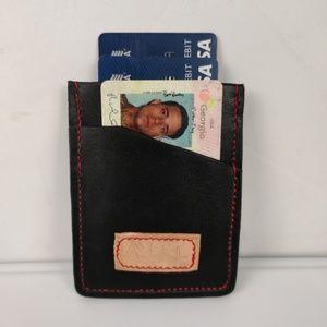 Chromed tanned leather money clip